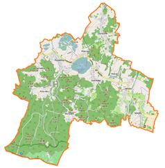"""Mapa konturowa gminy Podgórzyn, blisko dolnej krawiędzi po lewej znajduje się punkt z opisem """"Przejście granicznePrzesieka-Špindlerův Mlýn"""""""