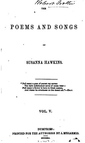 Susanna Hawkins - Title page Poems and Songs volume 5