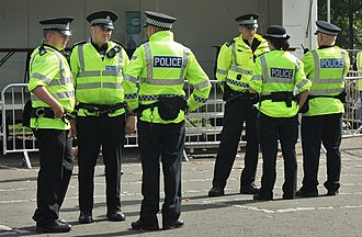 Strathclyde Police - Police officers in Glasgow Green, Glasgow.