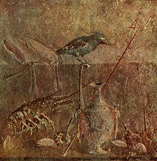 Un affresco di Pompei con un'aragosta e diversi molluschi, già ingredienti della cucina romana. Provenienza: Museo archeologico di Napoli.