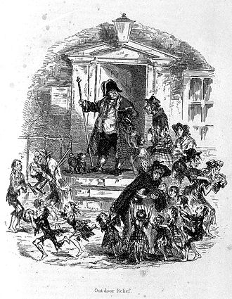 Poor Law Amendment Act 1834 - Out-door relief: Poor people coming to a workhouse for food, c. 1840