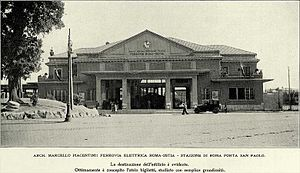 Roma Porta San Paolo railway station - An old picture of the main building of the station.