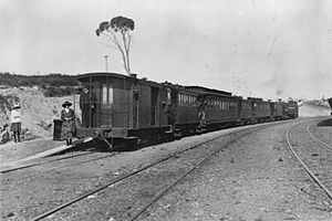 North Auckland Line - A passenger train stopped in Portland, on the North Auckland Line in 1923.