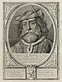 Portret van Floris III, graaf van Holland, met een met veren verfraaid hoofddeksel. De omlijsting is versierd met het wapen van Holland. NL-HlmNHA 1477 53012906.JPG