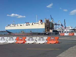 A roll-on/roll-off ship in the Port of Aucklan...