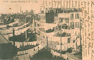 "Monday - This postcard, sent in 1907 and captioned ""Monday Morning in N. Y. City"", reflects the tradition of Monday as a day for washing clothes"