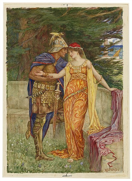 Watercolor of Posthumus and Imogen by Henry Justice Ford. Posthumus and Imogen.jpg