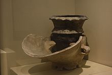 Pottery stove and pot unearthed at Hemudu site.jpg