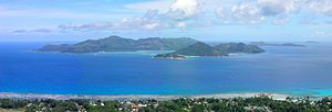 Seychelles - View of Praslin, the second largest island of the Seychelles