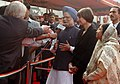 Pratibha Devisingh Patil, the Prime Minister, Dr. Manmohan Singh and the President, of the Swiss Confederation, Ms. Micheline Calmy-Rey, are interacting with the media at a ceremonial reception, in New Delhi.jpg