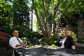 President Barack Obama has lunch with former Secretary of State Hillary Rodham Clinton on the patio outside the Oval Office, July 29, 2013.jpg