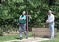 President George H. W. Bush and Prime Minister John Major of Great Britain play horseshoes at Camp David.jpg