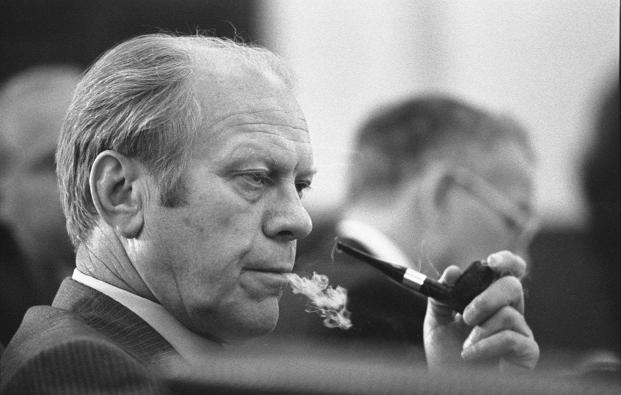 File President Gerald R Ford At A Meeting Following The