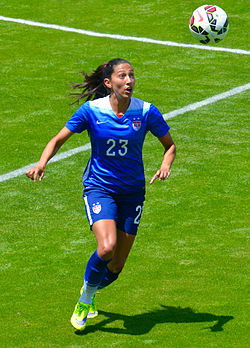 Press playing for the U.S. at Avaya Stadium, May 2015 Press looking up.jpg