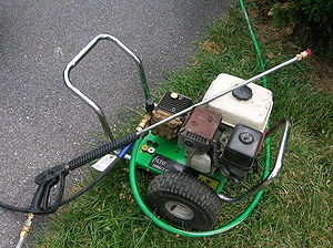 Pressure washing - Home-use pressure washer powered by a small gasoline engine