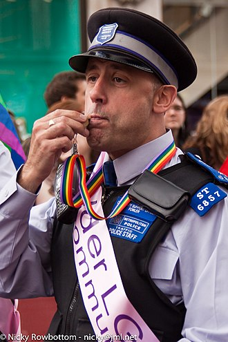 Police community support officer -  A PCSO of the Metropolitan Police on duty during the Pride London Parade, July 2011