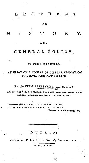 Lectures on History and General Policy - Title page from Joseph Priestley's Lectures