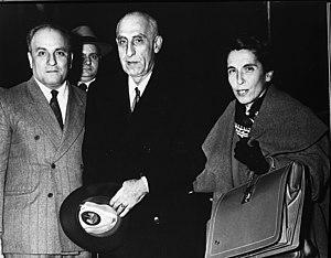 Prime Minister Mohammad Mossadegh of Iran accompanied by Dr. Gholem Hossein Mossadegh and Zia Achraf Bayat.jpg