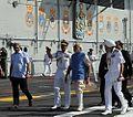 Prime Minister Narendra Modi arrives onboard INS Vikramaditya with Defence Minister Manohar Parrikar.JPG