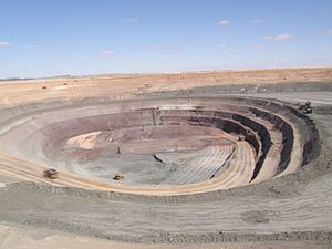 Iron oxide copper gold ore deposits - Pit of Prominent Hill IOCG deposit in 2008