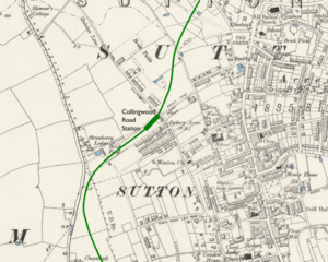 Collingwood Road tube station - Proposed location superimposed on Ordnance Survey map