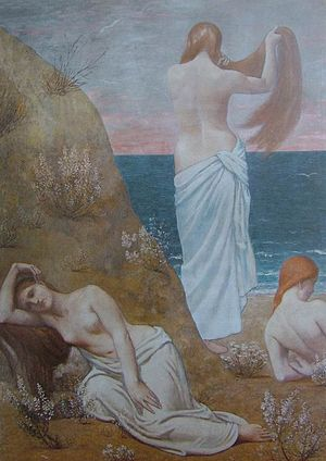 Gymnopédies - Jeunes filles au bord de la mer, 1879 painting by Puvis de Chavannes, which may have inspired Satie for the atmosphere he wanted to evoke in his Gymnopédies