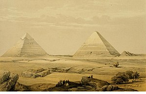 Joseph's Granaries - Pyramids at Giza as rendered by David Roberts (1846).