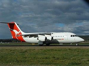 QantasLink (Southern Australia Airlines) British Aerospace BAe 146-200A CBR Gilbert.jpg