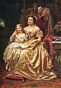 Qeen Marie of Hanover and her daughter Mary by Wilhelm von Kaulbach.jpg