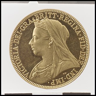 Double sovereign - Image: Queen Victoria proof double sovereign MET DP100383
