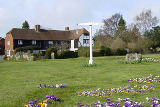 Quintain (jousting) - Quintain on Offham Green with crocuses 2006