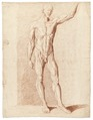 Rödkriteteckning på naken man och muskelgrupper, 1760-tal - Skoklosters slott - 99344.tif