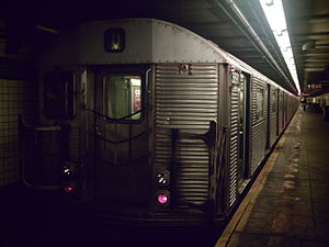 V (New York City Subway service) - A train made of R32 cars in V service at 23rd Street, bound for Queens.