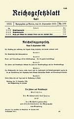 Strona tytułowa Dziennika Ustaw Rzeszy Część I nr 100: Ustawy norymberskie