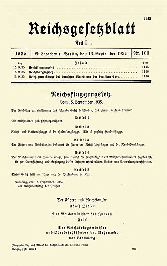 Nuremberg Laws - Title page of the German government gazette Reichsgesetzblatt issue proclaiming the laws, published on 16 September 1935 (RGB I No. 100)