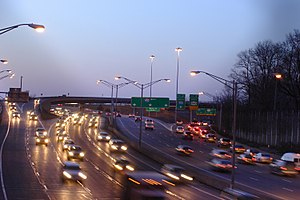 Interstate 490 (New York) - I-490 westbound at the Can of Worms