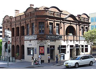 "Sydney Push - The Royal George building in April 2004. It has been renamed the Slip Inn. The Sydney Push met in the ""back room"", a little above ground floor, at left."