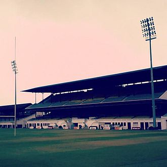 Colombo Racecourse - The stadium's grand stand after renovations. Notice the floodlights installed and double tier stands