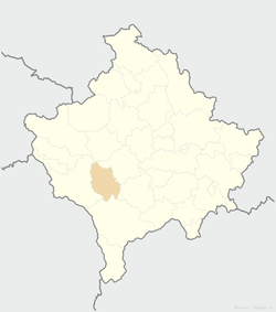 Location of the municipality of Orahovac within Kosovo