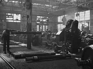 Railroad shopmen - Machinists working in a repair shop of the Illinois Central Railroad, 1942.