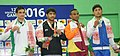 Ravinder (India) won the gold medal, Mohammad Bilal (Pakistan) won the silver medal, Faisal (Afghanistan) and Jaimangal Yadav (Nepal) won bronze medal in 57kg Men's wrestling, at 12th South Asian Games-2016, in Dispur.jpg