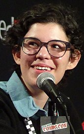 Rebecca Sugar, a smiling, bespectacled young woman