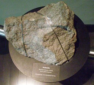 Mount Redoubt - A chunk of andesite thrown from the volcano in 2009 is seen on display at the Anchorage Museum in March 2011.