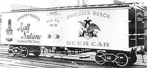 Refrigerator car - Anheuser-Busch was one of the first companies to transport beer nationwide using railroad refrigerator cars.