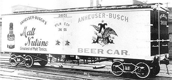 Anheuser-Busch was one of the first companies to transport beer nationwide using railroad refrigerator cars. Reefers-shorty-Anheuser-Busch-Malt-Nutrine ACF builders photo pre-1911.jpg