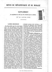 Revue de métaphysique et de morale, supplément 1, 1910