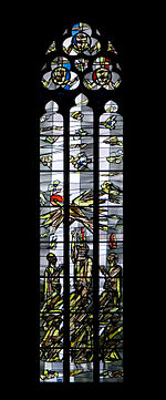 Rheinberg (North Rhine-Westphalia, Germany) – Catholic Saint Peter Church – one of the outer stained glass windows by Egbert Lammers