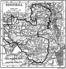 A map of Rhodesia, divided into Southern, North-Western and North-Eastern Rhodesia.