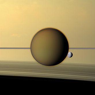 Titan Mare Explorer - Titan in front of Dione and Saturn