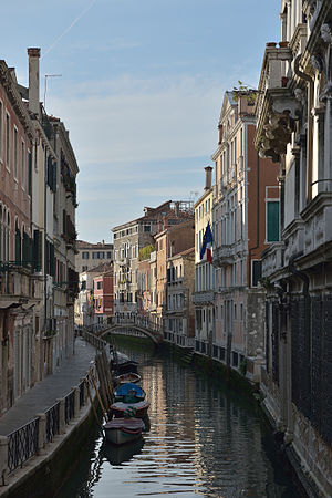 The morning sun on the Rio Marin' canal in Venice